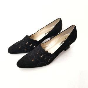 Vtg NEW AJ Valenci Black Suede Shoes 8M